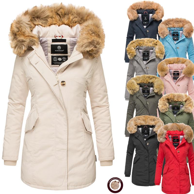 Marikoo Damen Winter Jacke Parka Damenjacke Mantel Maikoo